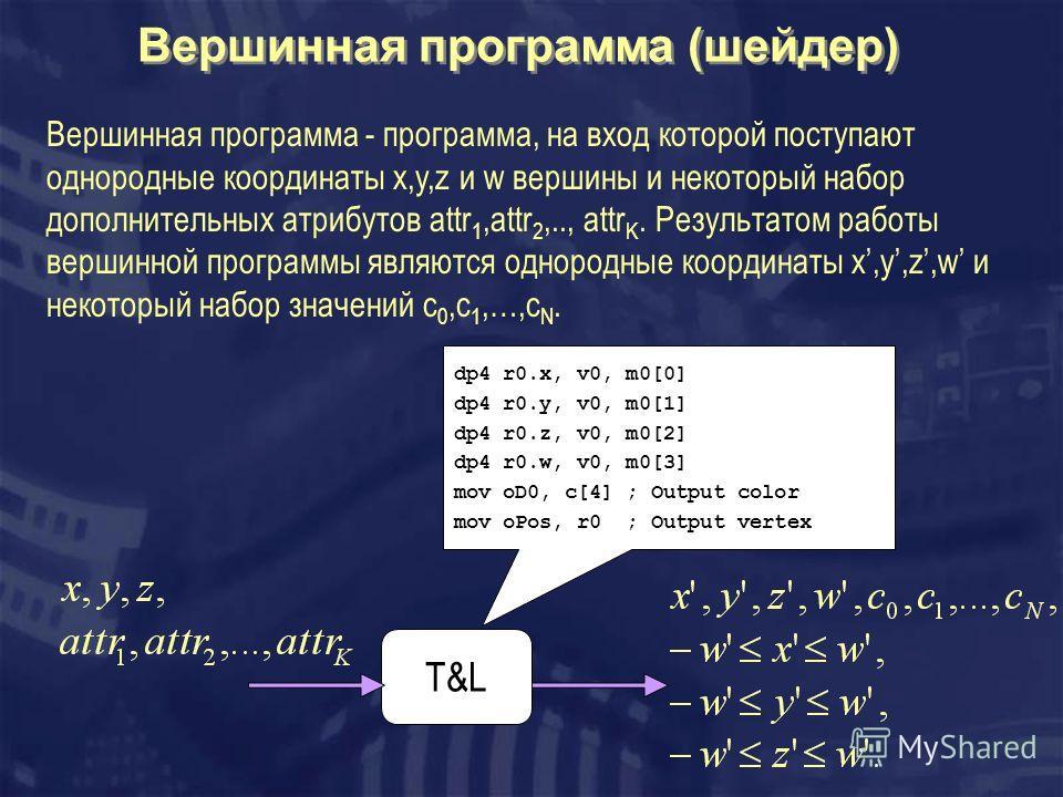 Вершинная программа (шейдер) T&L dp4 r0.x, v0, m0[0] dp4 r0.y, v0, m0[1] dp4 r0.z, v0, m0[2] dp4 r0.w, v0, m0[3] mov oD0, c[4] ; Output color mov oPos, r0 ; Output vertex Вершинная программа - программа, на вход которой поступают однородные координат