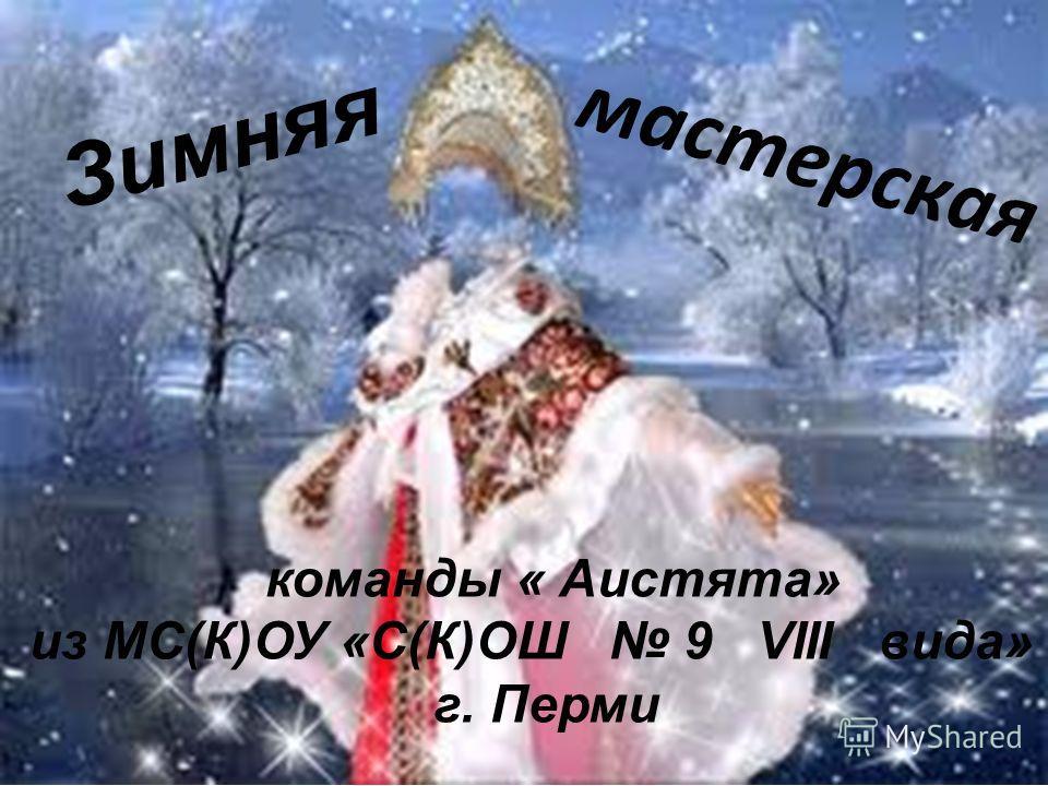 Зимняя мастерская команды « Аистята» из МС(К)ОУ «С(К)ОШ 9 VIII вида» г. Перми