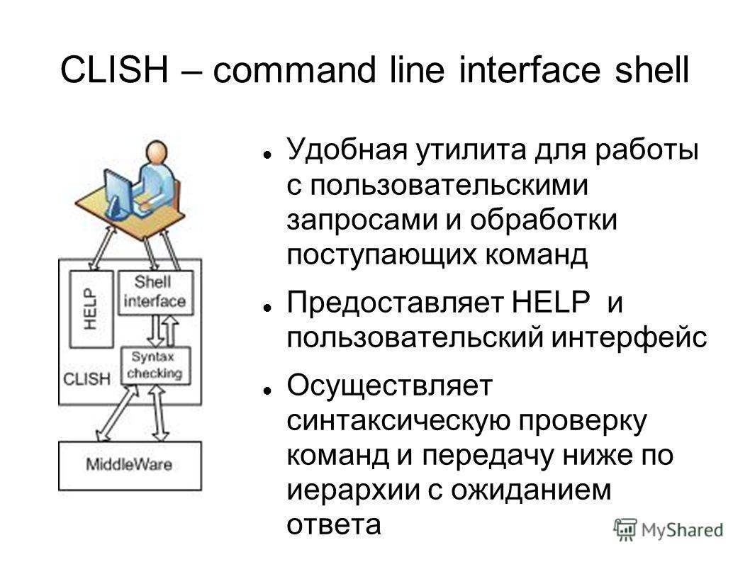 CLISH – command line interface shell Удобная утилита для работы с пользовательскими запросами и обработки поступающих команд Предоставляет HELP и пользовательский интерфейс Осуществляет синтаксическую проверку команд и передачу ниже по иерархии с ожи