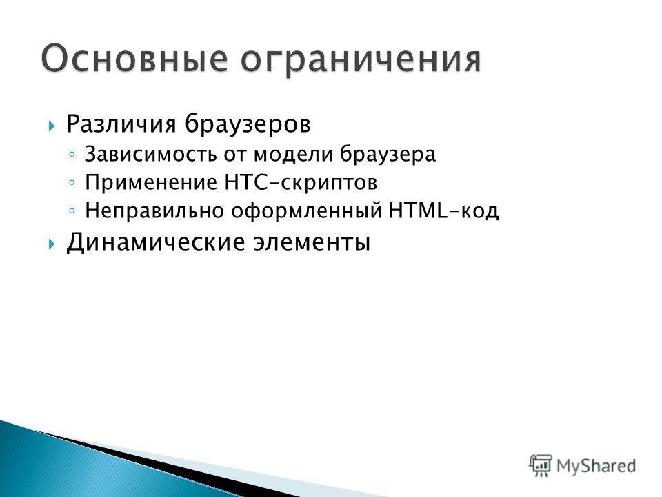 Различия браузеров Зависимость от модели браузера Применение HTC-скриптов Неправильно оформленный HTML-код Динамические элементы
