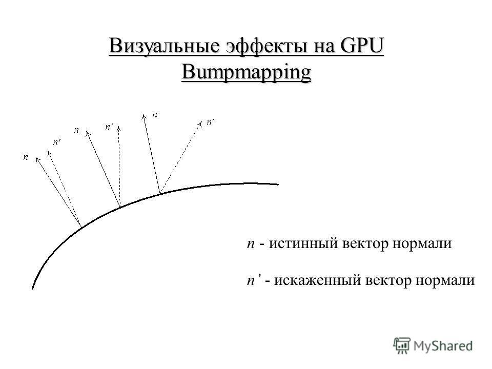 Визуальные эффекты на GPU Bumpmapping n - истинный вектор нормали n - искаженный вектор нормали