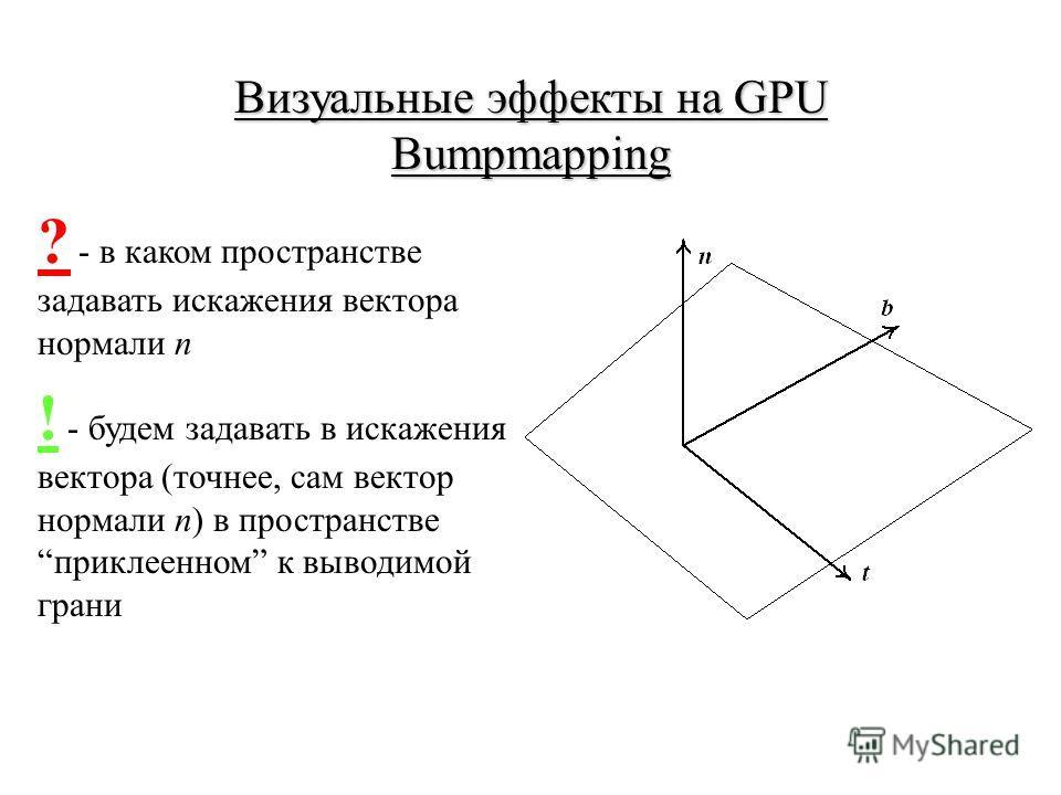 Визуальные эффекты на GPU Bumpmapping ? - в каком пространстве задавать искажения вектора нормали n ! - будем задавать в искажения вектора (точнее, сам вектор нормали n) в пространстве приклеенном к выводимой грани