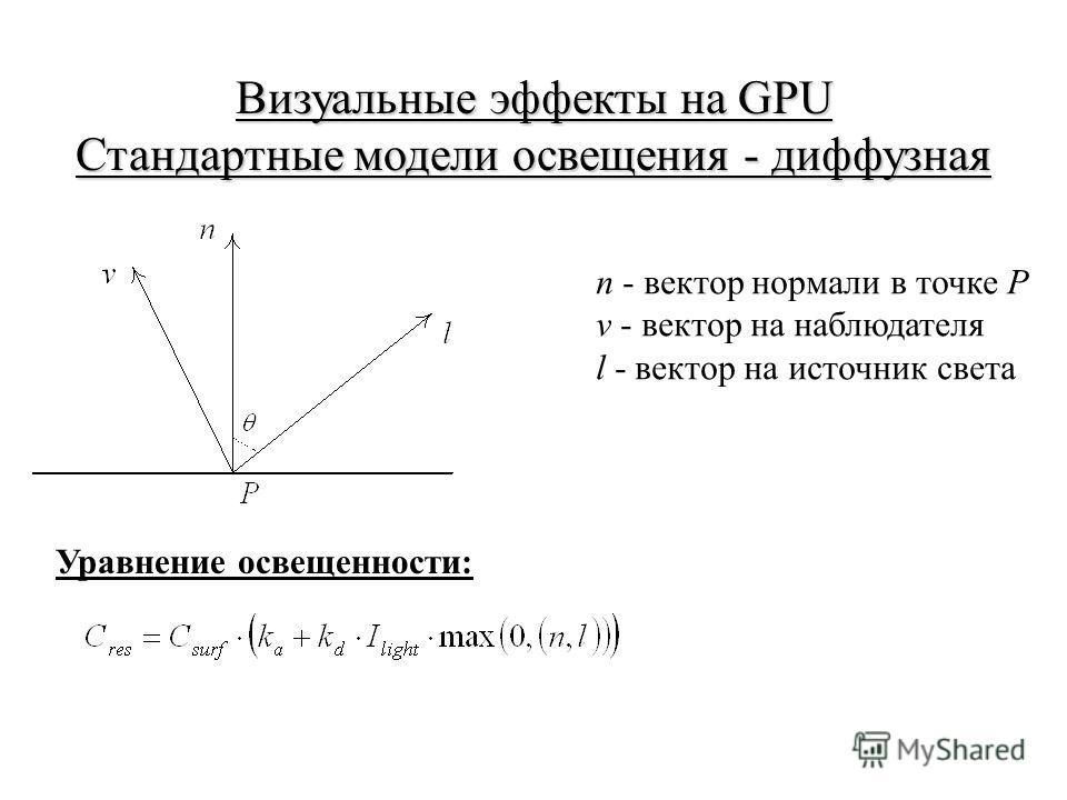 Визуальные эффекты на GPU Стандартные модели освещения - диффузная n - вектор нормали в точке Р v - вектор на наблюдателя l - вектор на источник света Уравнение освещенности: