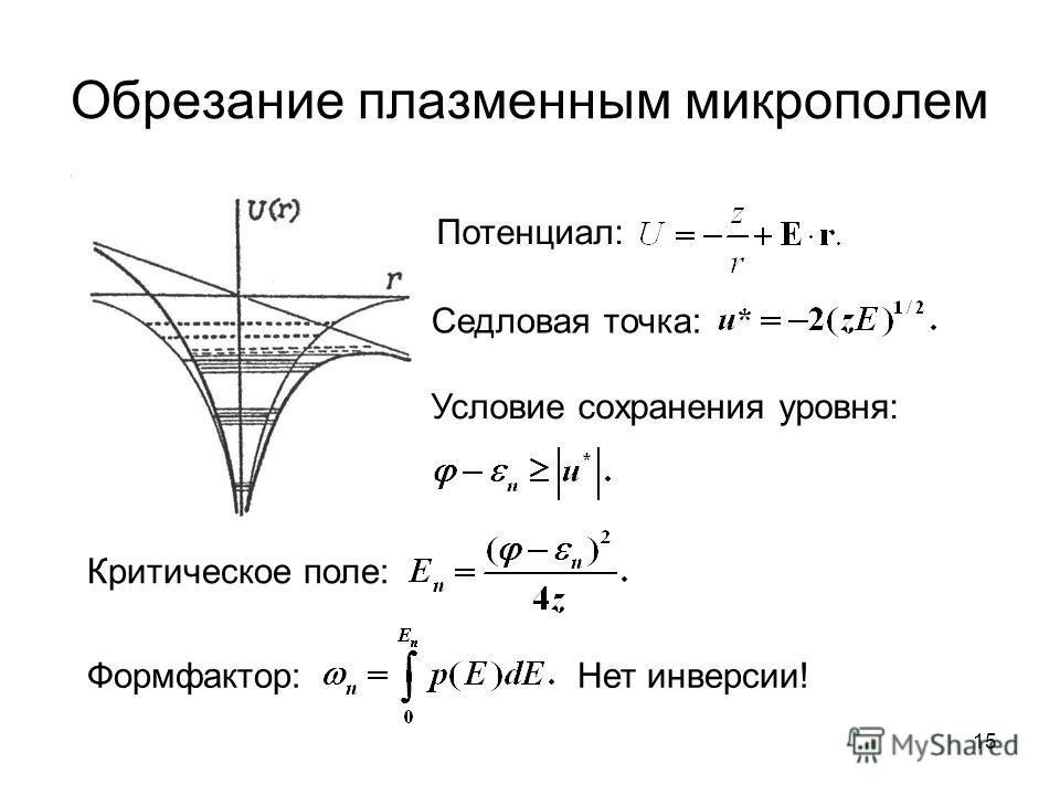 Обрезание плазменным микрополем Седловая точка: Потенциал: Условие сохранения уровня: Критическое поле: Формфактор:Нет инверсии! 15