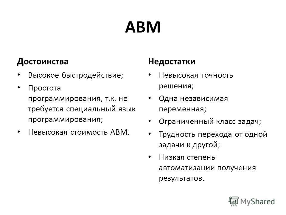 АВМ Достоинства Высокое быстродействие; Простота программирования, т.к. не требуется специальный язык программирования; Невысокая стоимость АВМ. Недостатки Невысокая точность решения; Одна независимая переменная; Ограниченный класс задач; Трудность п