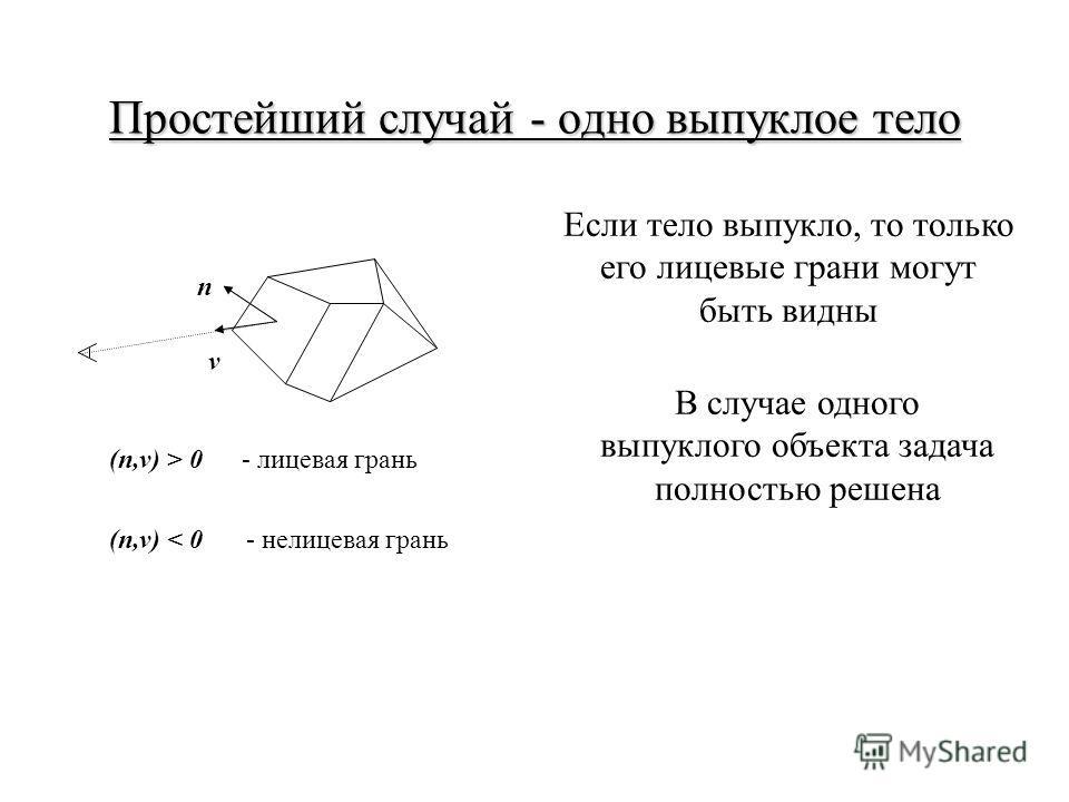 Простейший случай - одно выпуклое тело n v (n,v) > 0- лицевая грань (n,v) < 0- нелицевая грань Если тело выпукло, то только его лицевые грани могут быть видны В случае одного выпуклого объекта задача полностью решена