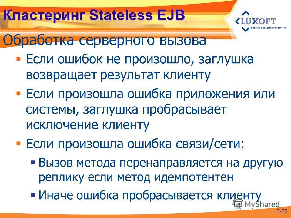 Кластеринг Stateless EJB Обработка серверного вызова 2-22 Если ошибок не произошло, заглушка возвращает результат клиенту Если произошла ошибка приложения или системы, заглушка пробрасывает исключение клиенту Если произошла ошибка связи/сети: Вызов м