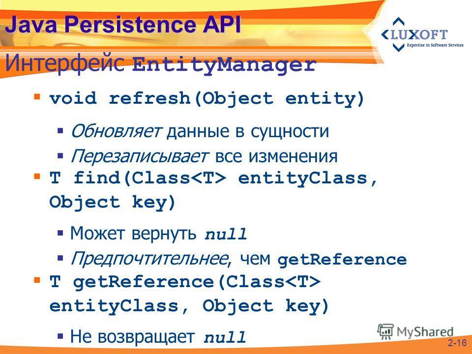 Java Persistence API void refresh(Object entity) Обновляет данные в сущности Перезаписывает все изменения T find(Class entityClass, Object key) Может вернуть null Предпочтительнее, чем getReference T getReference(Class entityClass, Object key) Не воз
