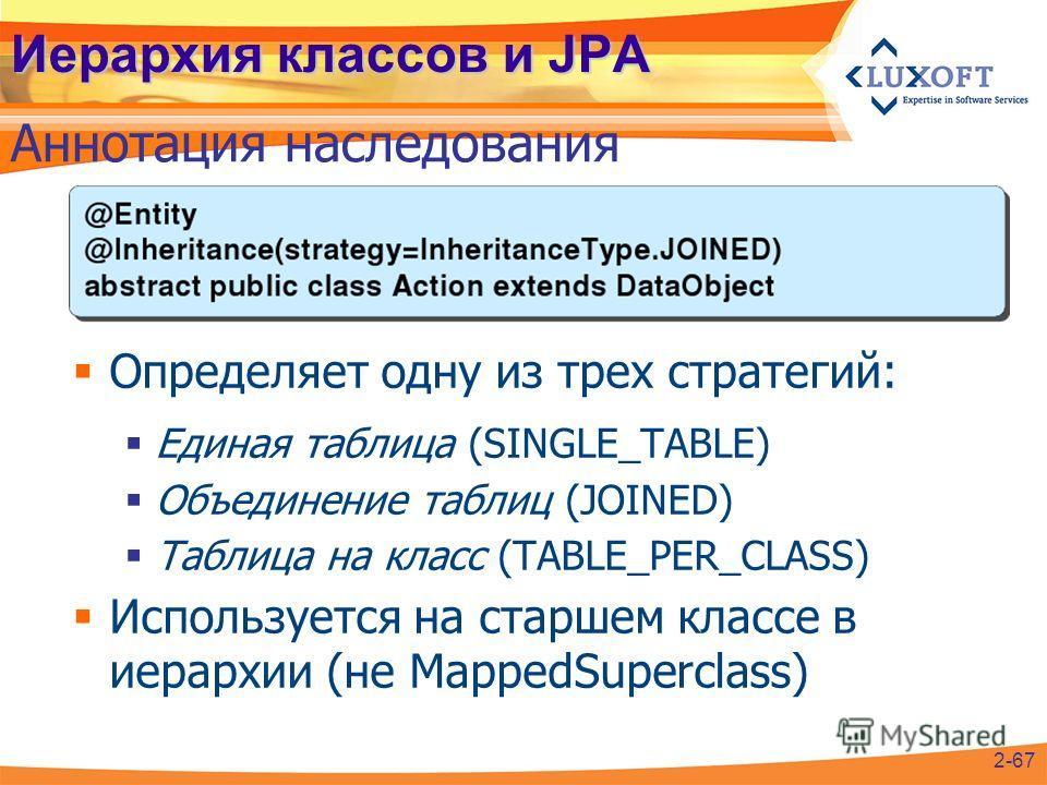 Иерархия классов и JPA Определяет одну из трех стратегий: Единая таблица (SINGLE_TABLE) Объединение таблиц (JOINED) Таблица на класс (TABLE_PER_CLASS) Используется на старшем классе в иерархии (не MappedSuperclass) Аннотация наследования 2-67