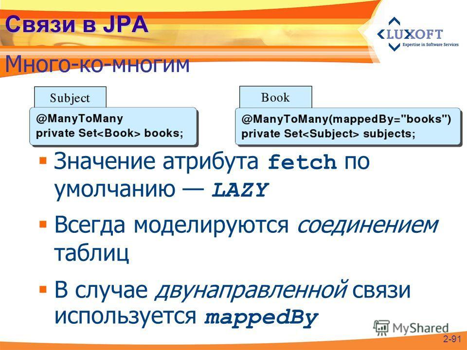 Связи в JPA Много-ко-многим 2-91 Значение атрибута fetch по умолчанию LAZY Всегда моделируются соединением таблиц В случае двунаправленной связи используется mappedBy