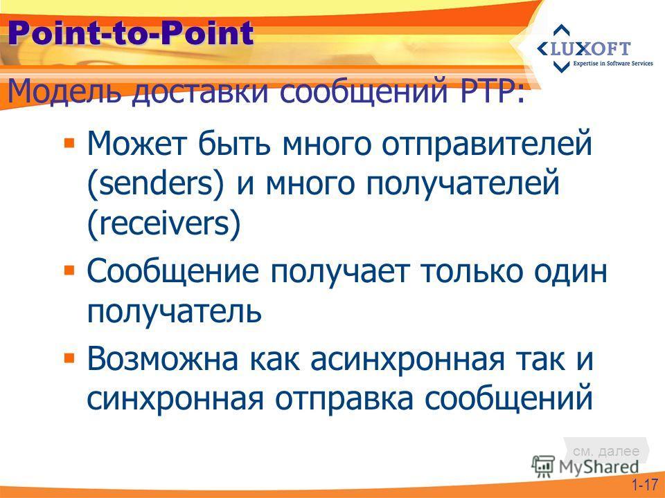 Point-to-Point Может быть много отправителей (senders) и много получателей (receivers) Сообщение получает только один получатель Возможна как асинхронная так и синхронная отправка сообщений 1-17 Модель доставки сообщений PTP: см. далее