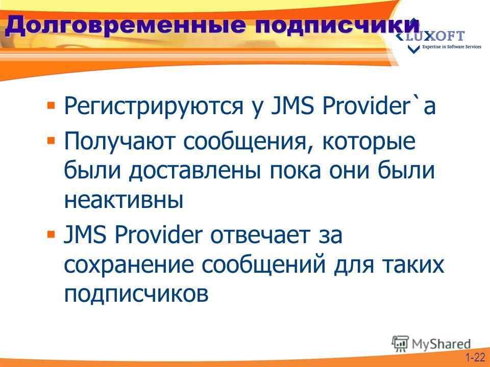 Долговременные подписчики Регистрируются у JMS Provider`а Получают сообщения, которые были доставлены пока они были неактивны JMS Provider отвечает за сохранение сообщений для таких подписчиков 1-22