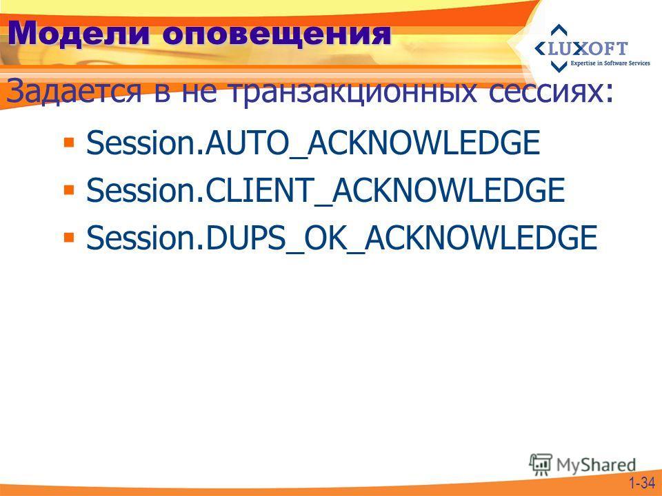 Модели оповещения Session.AUTO_ACKNOWLEDGE Session.CLIENT_ACKNOWLEDGE Session.DUPS_OK_ACKNOWLEDGE Задается в не транзакционных сессиях: 1-34