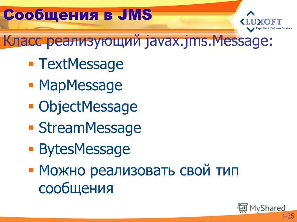 Сообщения в JMS TextMessage MapMessage ObjectMessage StreamMessage BytesMessage Можно реализовать свой тип сообщения Класс реализующий javax.jms.Message: 1-35