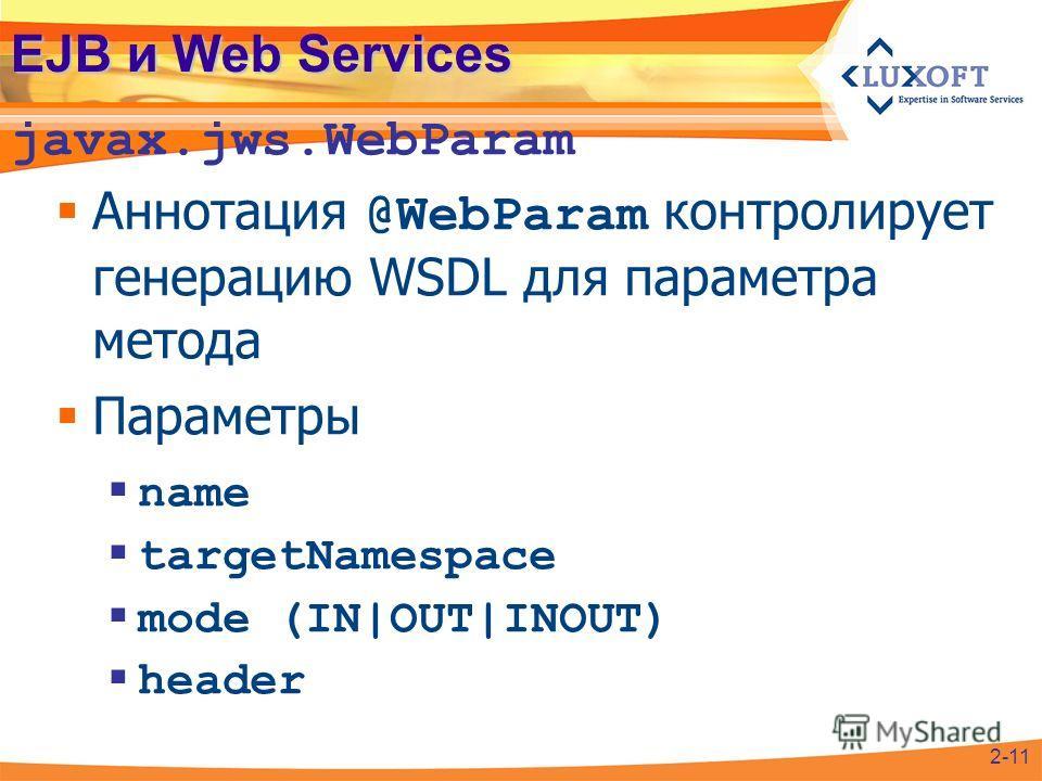 EJB и Web Services Аннотация @WebParam контролирует генерацию WSDL для параметра метода Параметры name targetNamespace mode (IN|OUT|INOUT) header javax.jws.WebParam 2-11