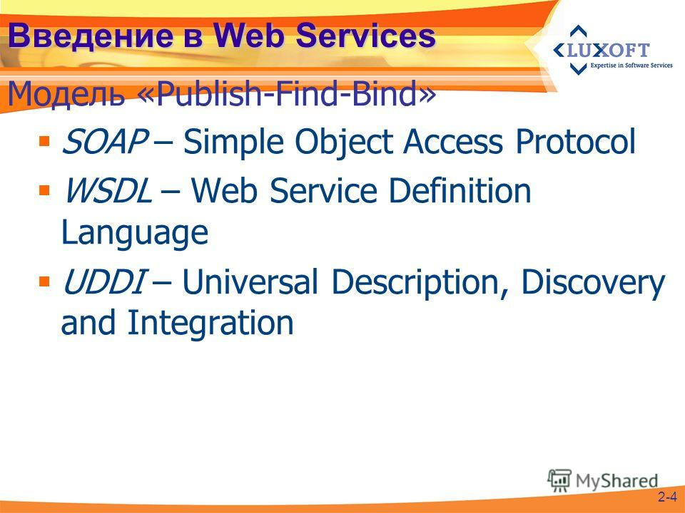 Введение в Web Services SOAP – Simple Object Access Protocol WSDL – Web Service Definition Language UDDI – Universal Description, Discovery and Integration Модель «Publish-Find-Bind» 2-4