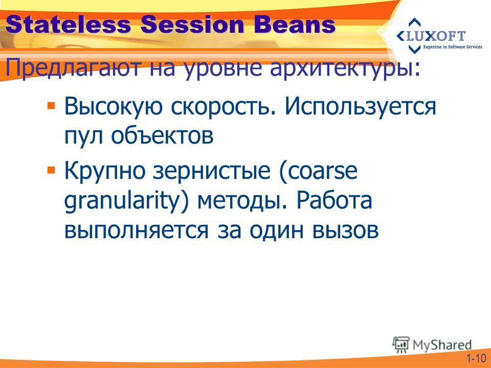 Stateless Session Beans Высокую скорость. Используется пул объектов Крупно зернистые (coarse granularity) методы. Работа выполняется за один вызов Предлагают на уровне архитектуры: 1-10