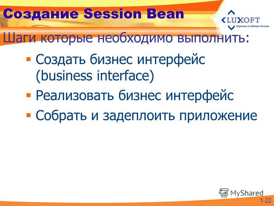 Создание Session Bean Создать бизнес интерфейс (business interface) Реализовать бизнес интерфейс Собрать и задеплоить приложение Шаги которые необходимо выполнить: 1-22