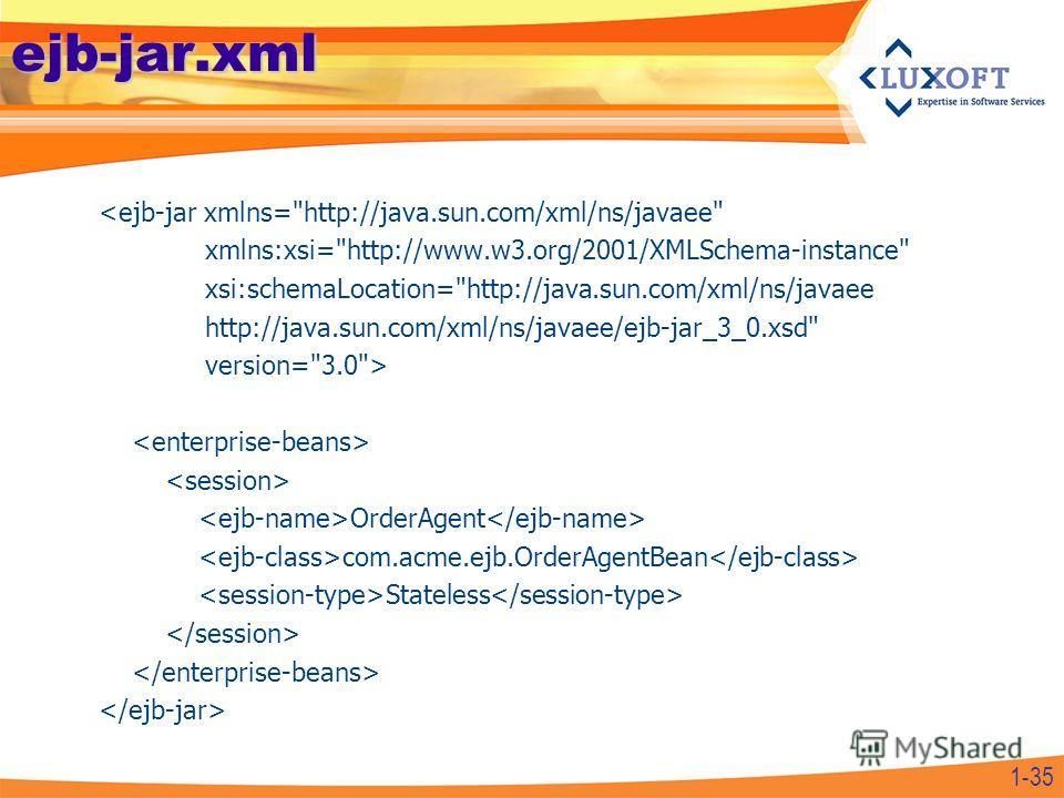 ejb-jar.xml  OrderAgent com.acme.ejb.OrderAgentBean Stateless 1-35