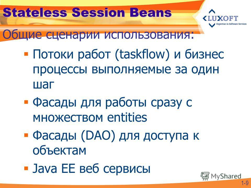 Stateless Session Beans Потоки работ (taskflow) и бизнес процессы выполняемые за один шаг Фасады для работы сразу с множеством entities Фасады (DAO) для доступа к объектам Java EE веб сервисы Общие сценарии использования: 1-9