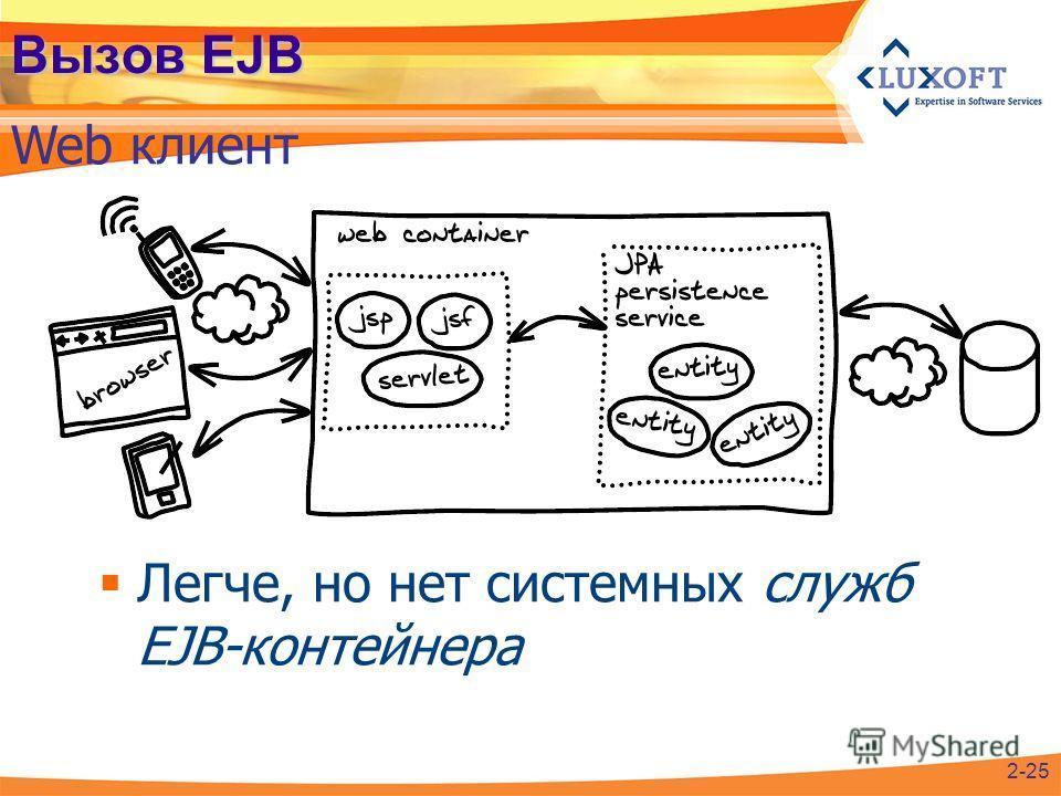 Вызов EJB Web клиент Легче, но нет системных служб EJB-контейнера 2-25