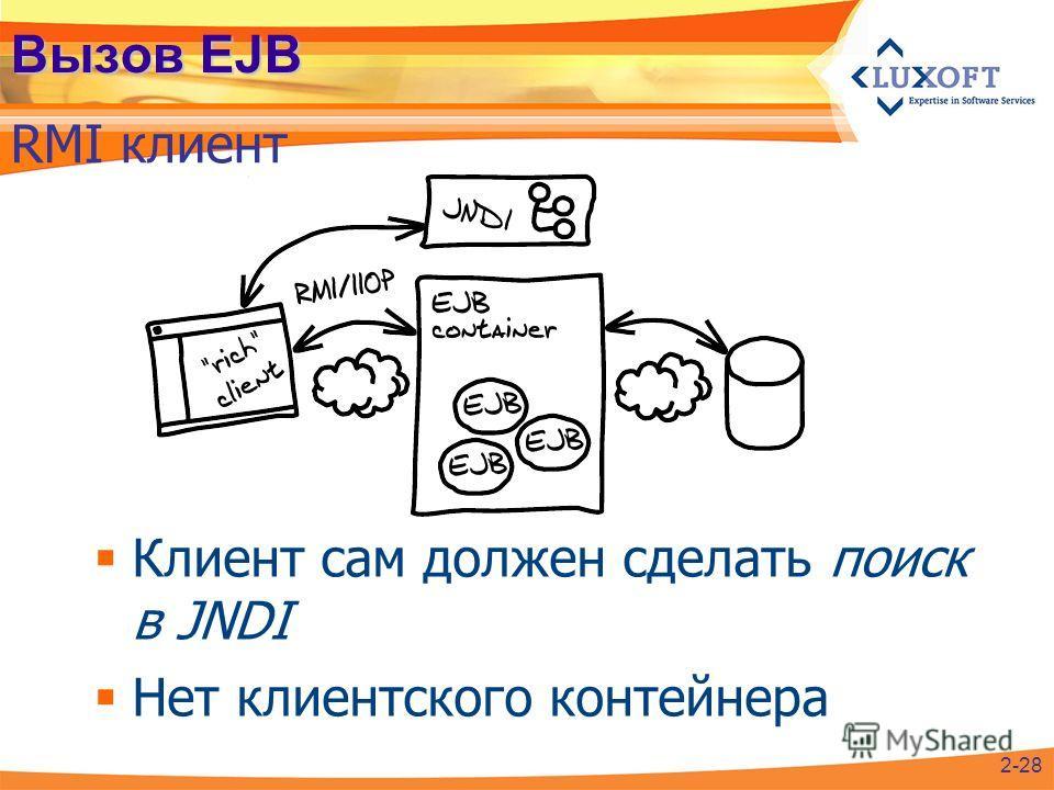 Вызов EJB RMI клиент Клиент сам должен сделать поиск в JNDI Нет клиентского контейнера 2-28