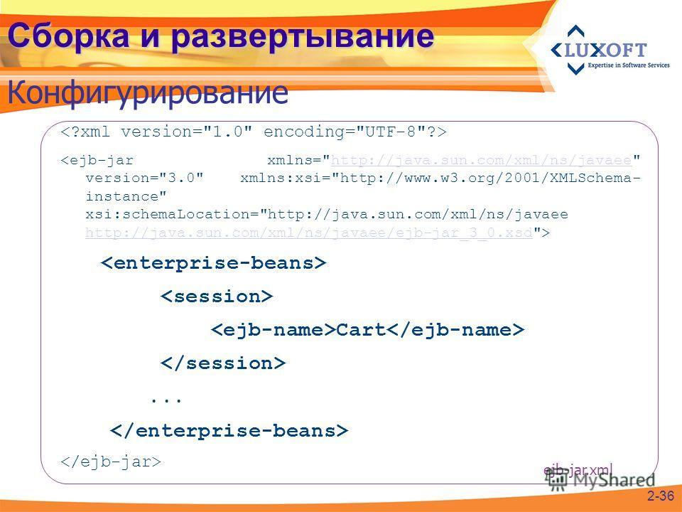 Сборка и развертывание Конфигурирование http://java.sun.com/xml/ns/javaee http://java.sun.com/xml/ns/javaee/ejb-jar_3_0.xsd Cart... 2-36 ejb-jar.xml