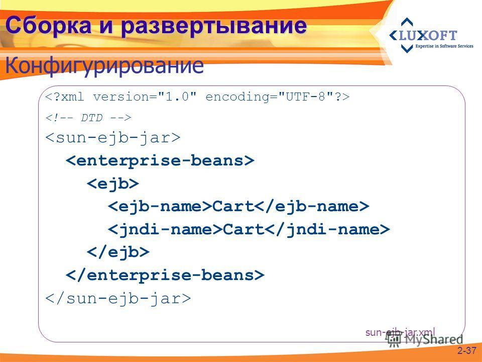 Сборка и развертывание Конфигурирование Cart 2-37 sun-ejb-jar.xml