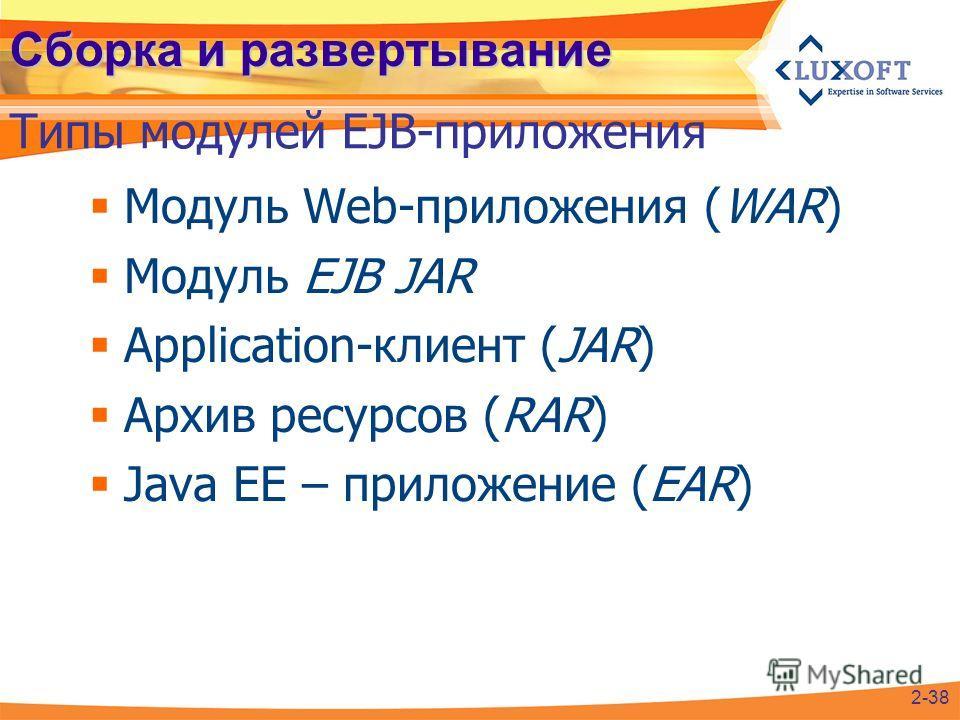 Сборка и развертывание Модуль Web-приложения (WAR) Модуль EJB JAR Application-клиент (JAR) Архив ресурсов (RAR) Java EE – приложение (EAR) Типы модулей EJB-приложения 2-38