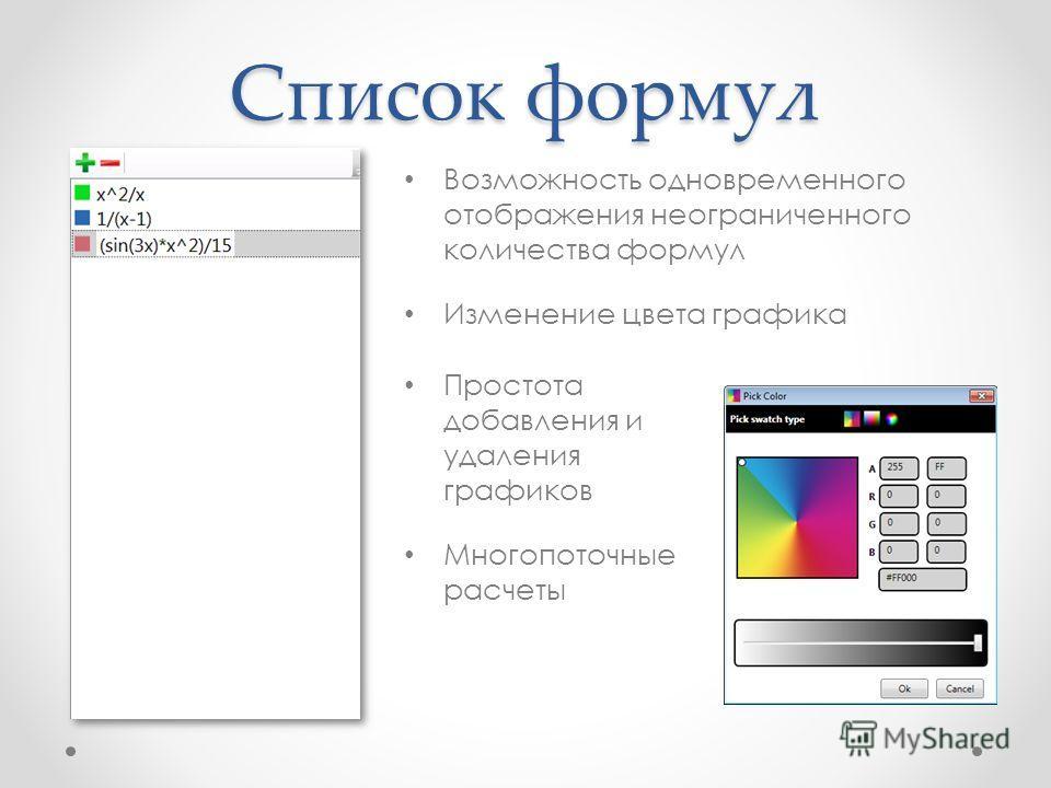 Список формул Возможность одновременного отображения неограниченного количества формул Изменение цвета графика Простота добавления и удаления графиков Многопоточные расчеты