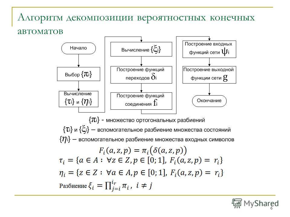 Алгоритм декомпозиции вероятностных конечных автоматов 6