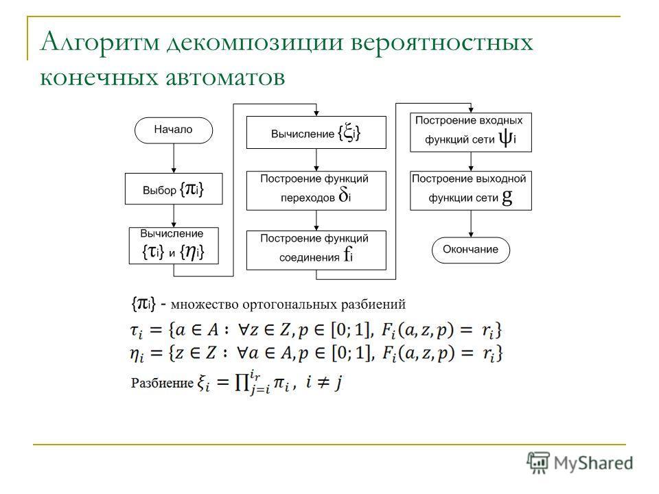 Алгоритм декомпозиции вероятностных конечных автоматов