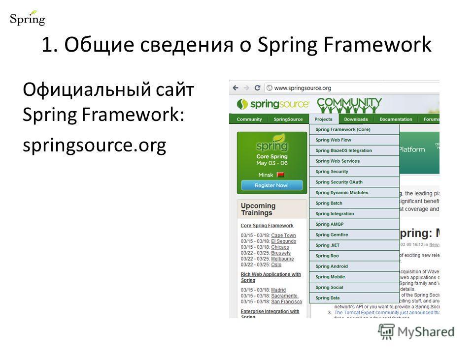 1. Общие сведения о Spring Framework Официальный сайт Spring Framework: springsource.org