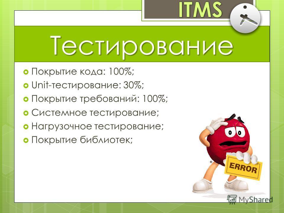 Тестирование Покрытие кода: 100%; Unit-тестирование: 30%; Покрытие требований: 100%; Системное тестирование; Нагрузочное тестирование; Покрытие библиотек;