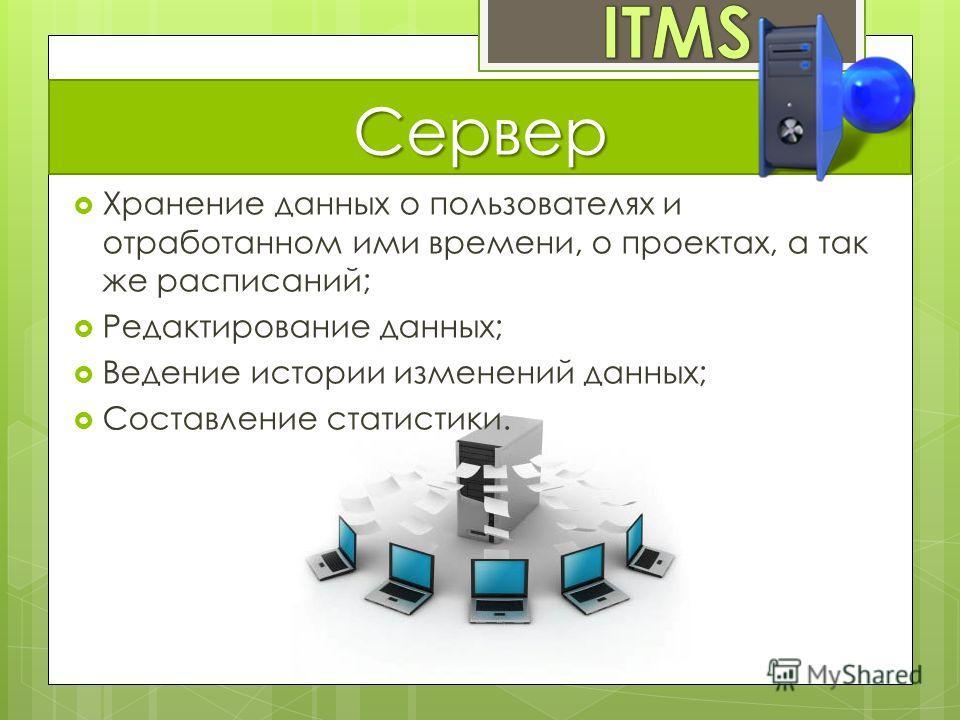 Сервер Хранение данных о пользователях и отработанном ими времени, о проектах, а так же расписаний; Редактирование данных; Ведение истории изменений данных; Составление статистики.