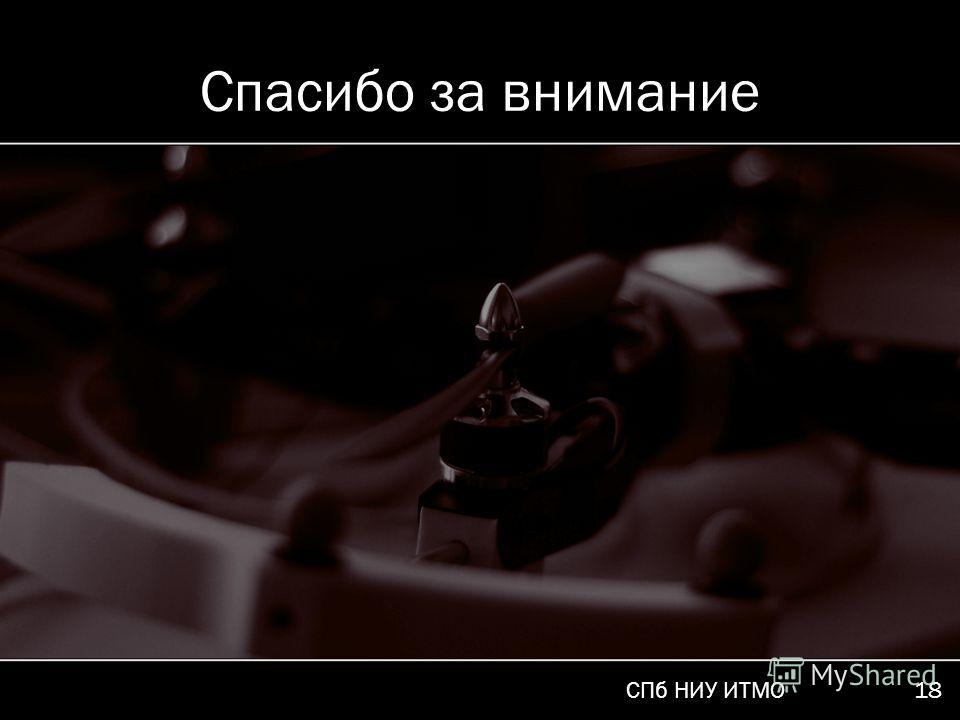 СПб НИУ ИТМО 18 Спасибо за внимание