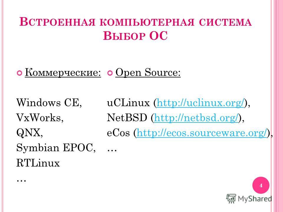 В СТРОЕННАЯ КОМПЬЮТЕРНАЯ СИСТЕМА В ЫБОР ОС Коммерческие: Windows CE, VxWorks, QNX, Symbian EPOC, RTLinux … Open Source: uCLinux (http://uclinux.org/),http://uclinux.org/ NetBSD (http://netbsd.org/),http://netbsd.org/ eCos (http://ecos.sourceware.org/