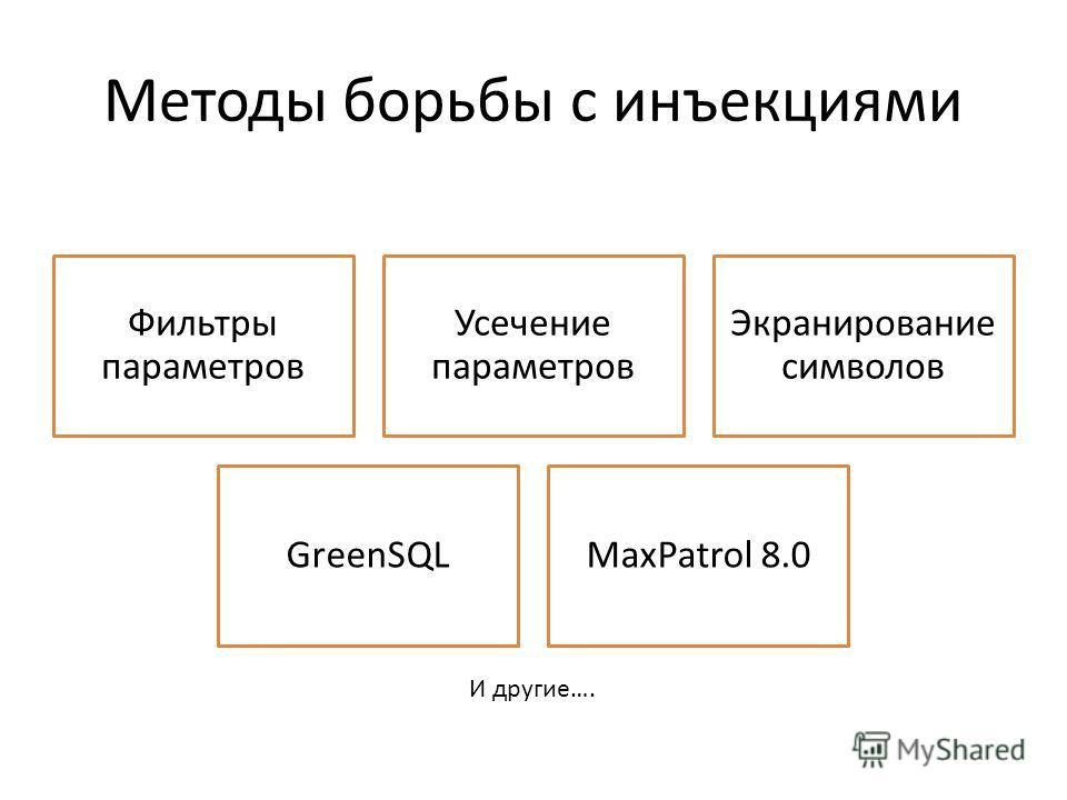 Методы борьбы с инъекциями Фильтры параметров Усечение параметров Экранирование символов GreenSQLMaxPatrol 8.0 И другие….