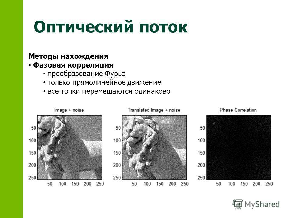 Оптический поток Методы нахождения Фазовая корреляция преобразование Фурье только прямолинейное движение все точки перемещаются одинаково