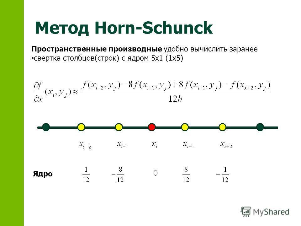 Метод Horn-Schunck Пространственные производные удобно вычислить заранее свертка столбцов(строк) с ядром 5x1 (1x5) Ядро
