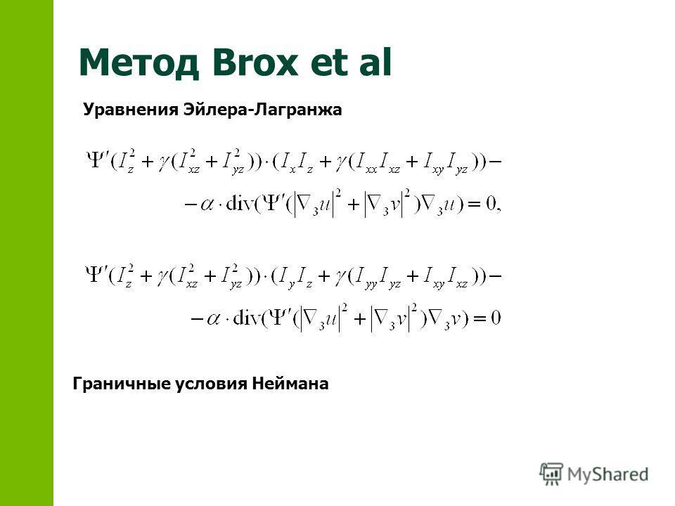 Метод Brox et al Уравнения Эйлера-Лагранжа Граничные условия Неймана