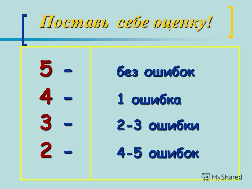 Поставь себе оценку! 5 - б без ошибок 4 - 1 1 ошибка 3 - 2 2-3 ошибки 2 - 4 4-5 ошибок