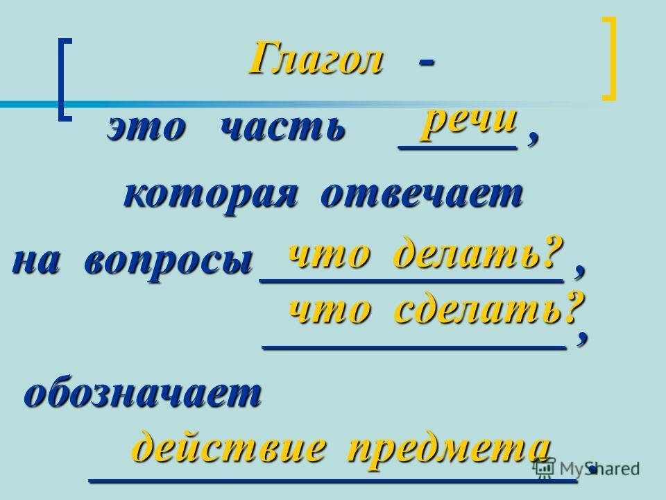 Глагол - Глагол - это часть _____, которая отвечает на вопросы _____________, на вопросы _____________, _____________, _____________, обозначает обозначает _____________________. _____________________. речи что делать? что сделать? что сделать? дейст