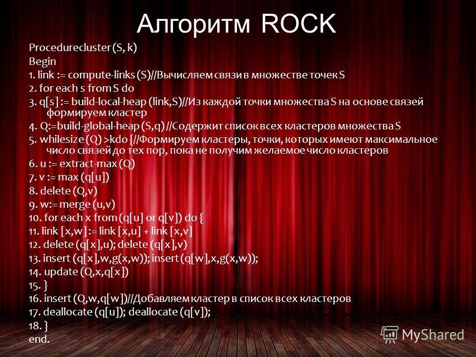 Алгоритм ROCK Procedurecluster (S, k) Begin 1. link := compute-links (S)//Вычисляем связи в множестве точек S 2. for each s from S do 3. q[s] := build-local-heap (link,S)//Из каждой точки множества S на основе связей формируем кластер 4. Q:=build-glo