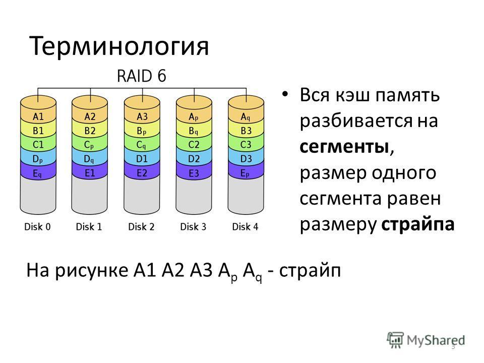Терминология Вся кэш память разбивается на сегменты, размер одного сегмента равен размеру страйпа На рисунке A1 A2 A3 A p A q - страйп 3