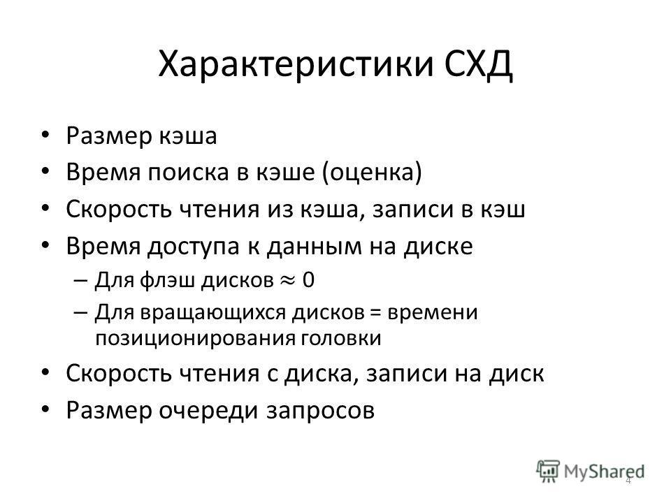 Характеристики СХД 4