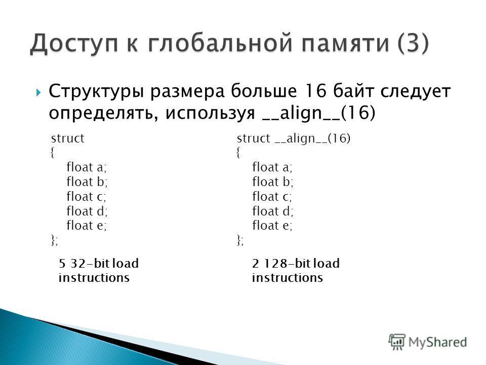 Структуры размера больше 16 байт следует определять, используя __align__(16) struct { float a; float b; float c; float d; float e; }; struct __align__(16) { float a; float b; float c; float d; float e; }; 5 32-bit load instructions 2 128-bit load ins