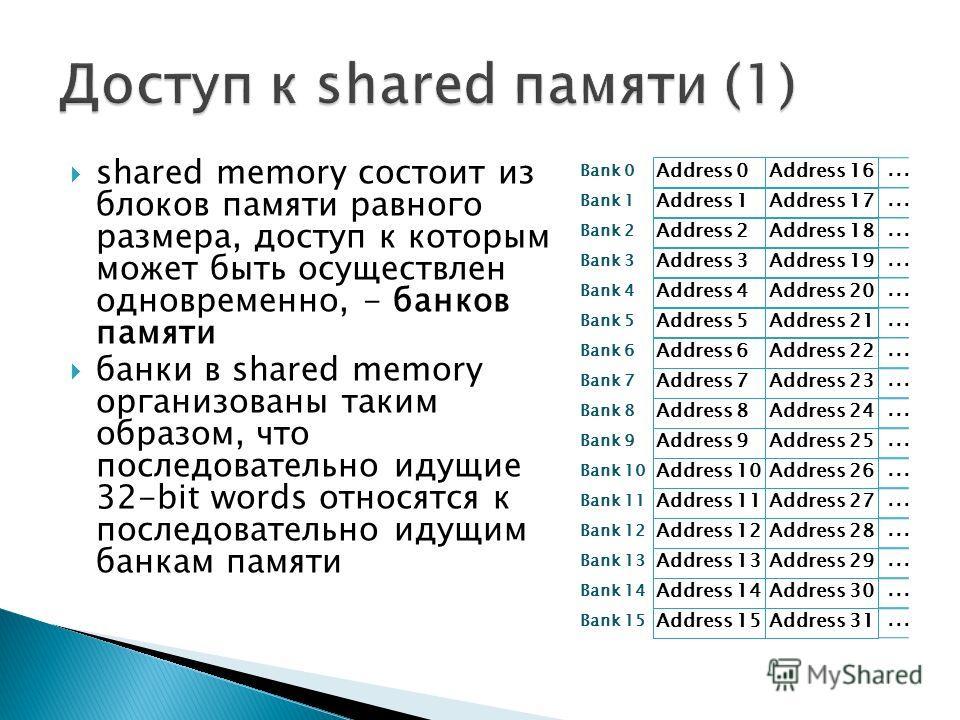 shared memory состоит из блоков памяти равного размера, доступ к которым может быть осуществлен одновременно, - банков памяти банки в shared memory организованы таким образом, что последовательно идущие 32-bit words относятся к последовательно идущим