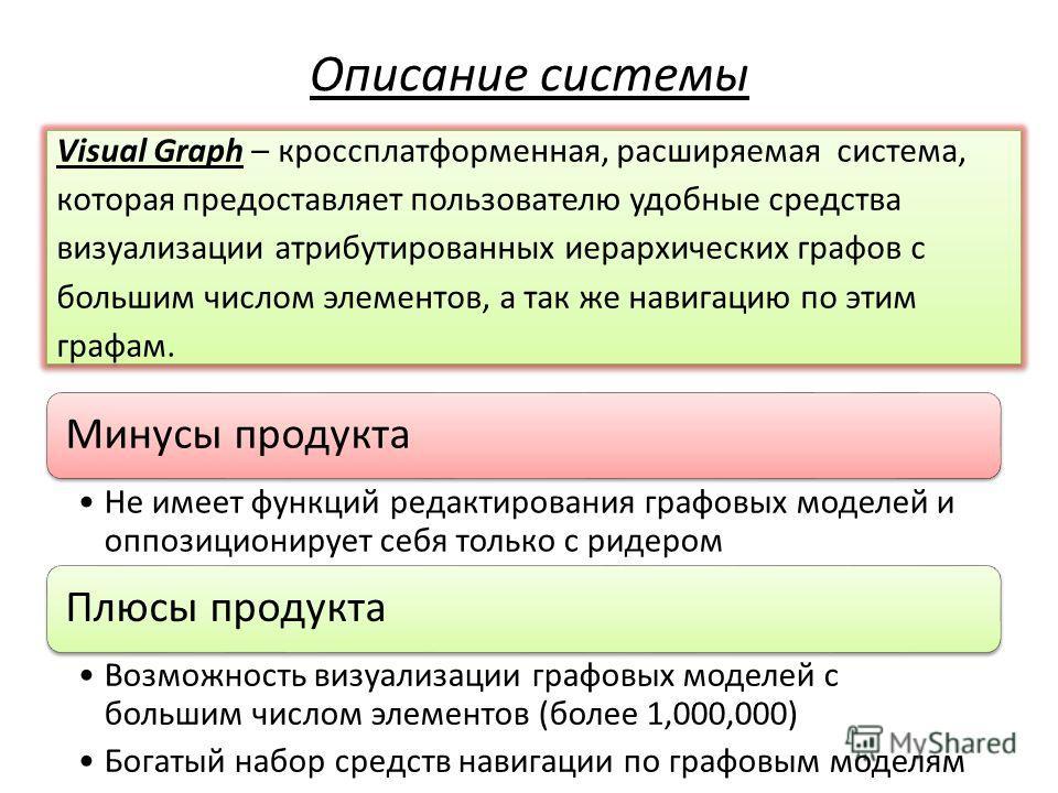 Visual Graph – кроссплатформенная, расширяемая система, которая предоставляет пользователю удобные средства визуализации атрибутированных иерархических графов с большим числом элементов, а так же навигацию по этим графам. Описание системы Минусы прод