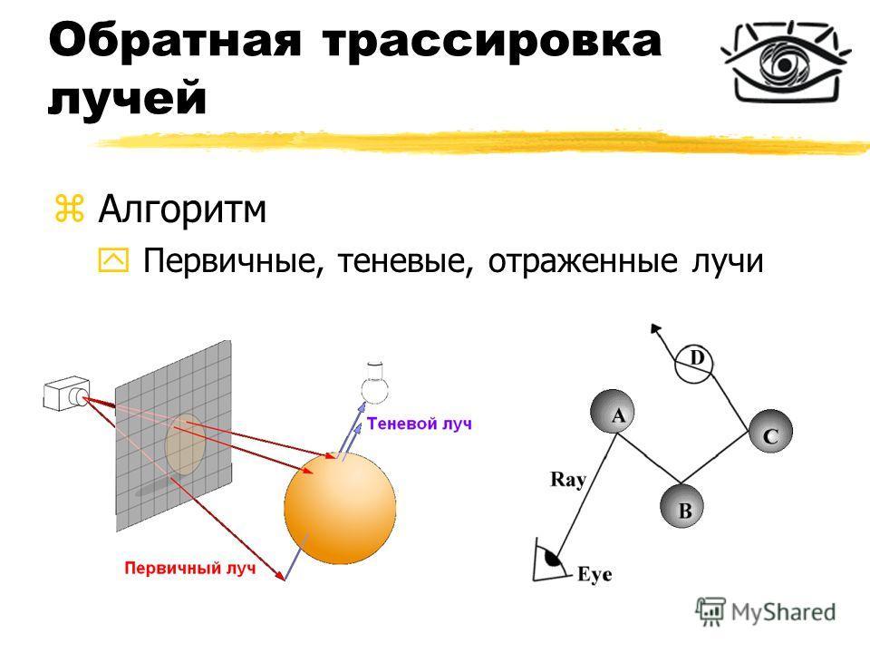 Обратная трассировка лучей z Алгоритм y Первичные, теневые, отраженные лучи
